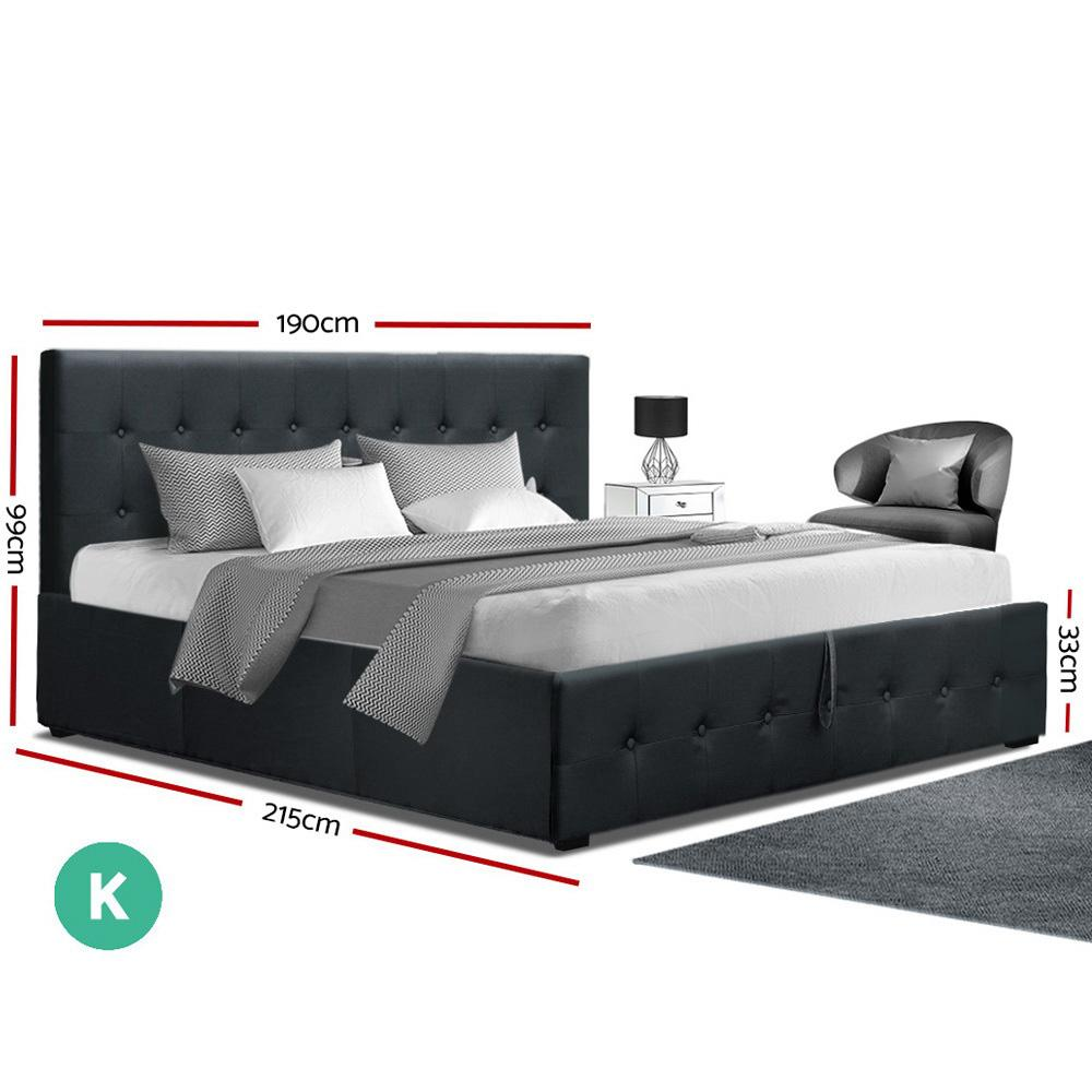 Artiss Roca Gas Lift King Bed Frame Charcoal - Evopia