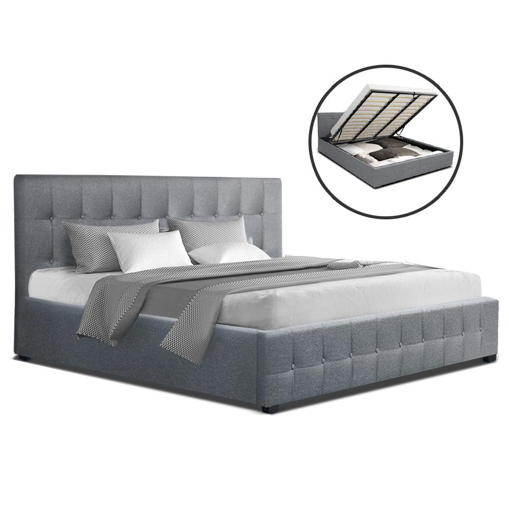 Artiss ROCA King Size Gas Lift Bed Frame Base With Storage Mattress Grey Fabric - Evopia