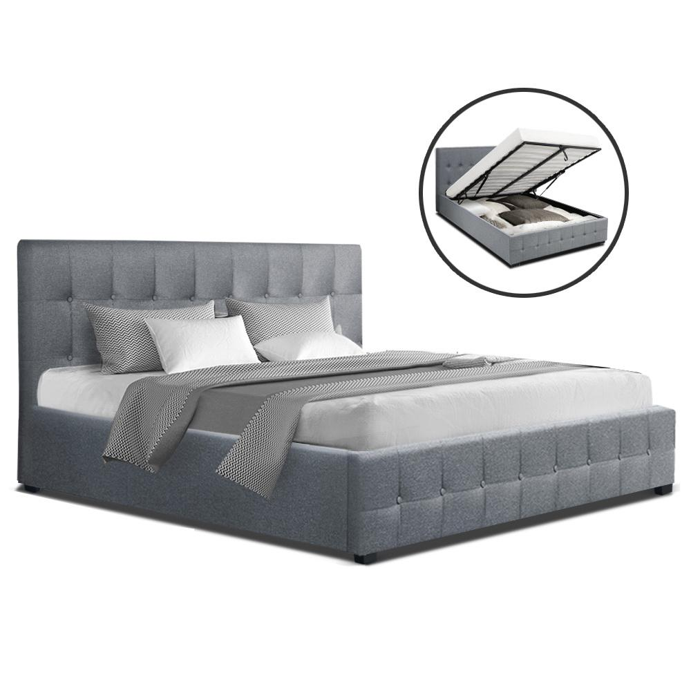 Artiss ROCA Queen Size Gas Lift Bed Frame Base With Storage Mattress Grey Fabric - Evopia