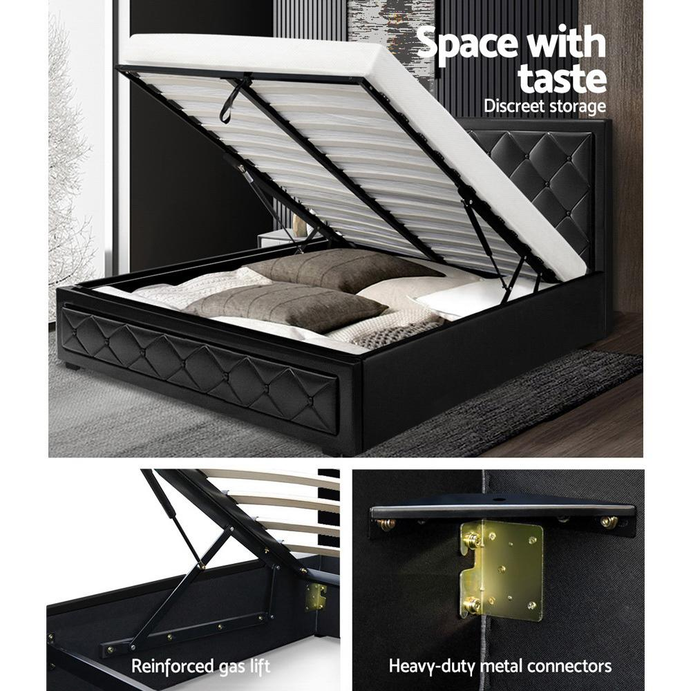 Artiss Tiyo Gas Lift Bed Frame - Queen - Evopia