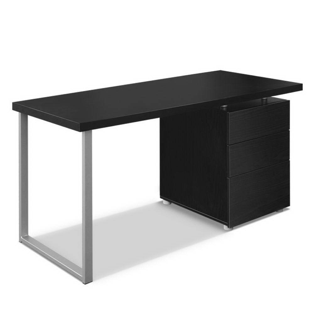 Artiss Metal Desk with 3 Drawers - Black - Evopia