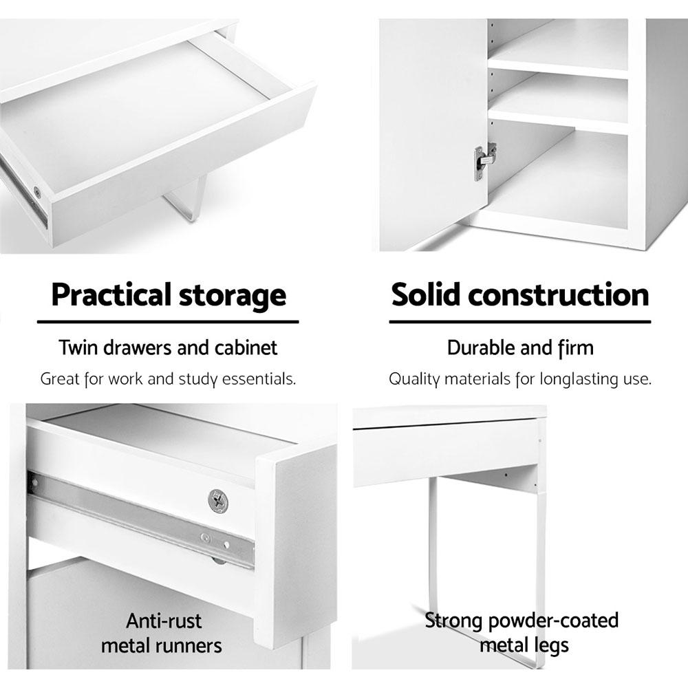 Artiss Metal Desk With Storage Cabinets - White - Evopia