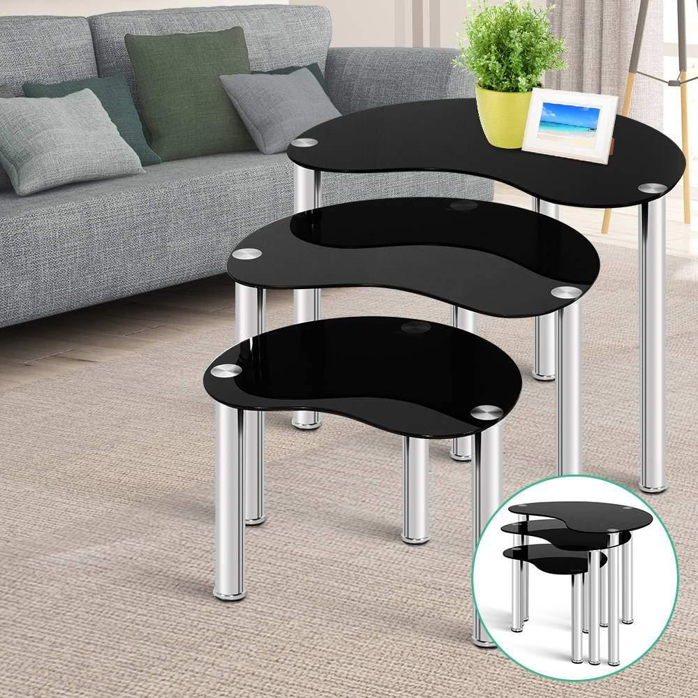 Glass Coffee Table Black Set Of 3 - Evopia