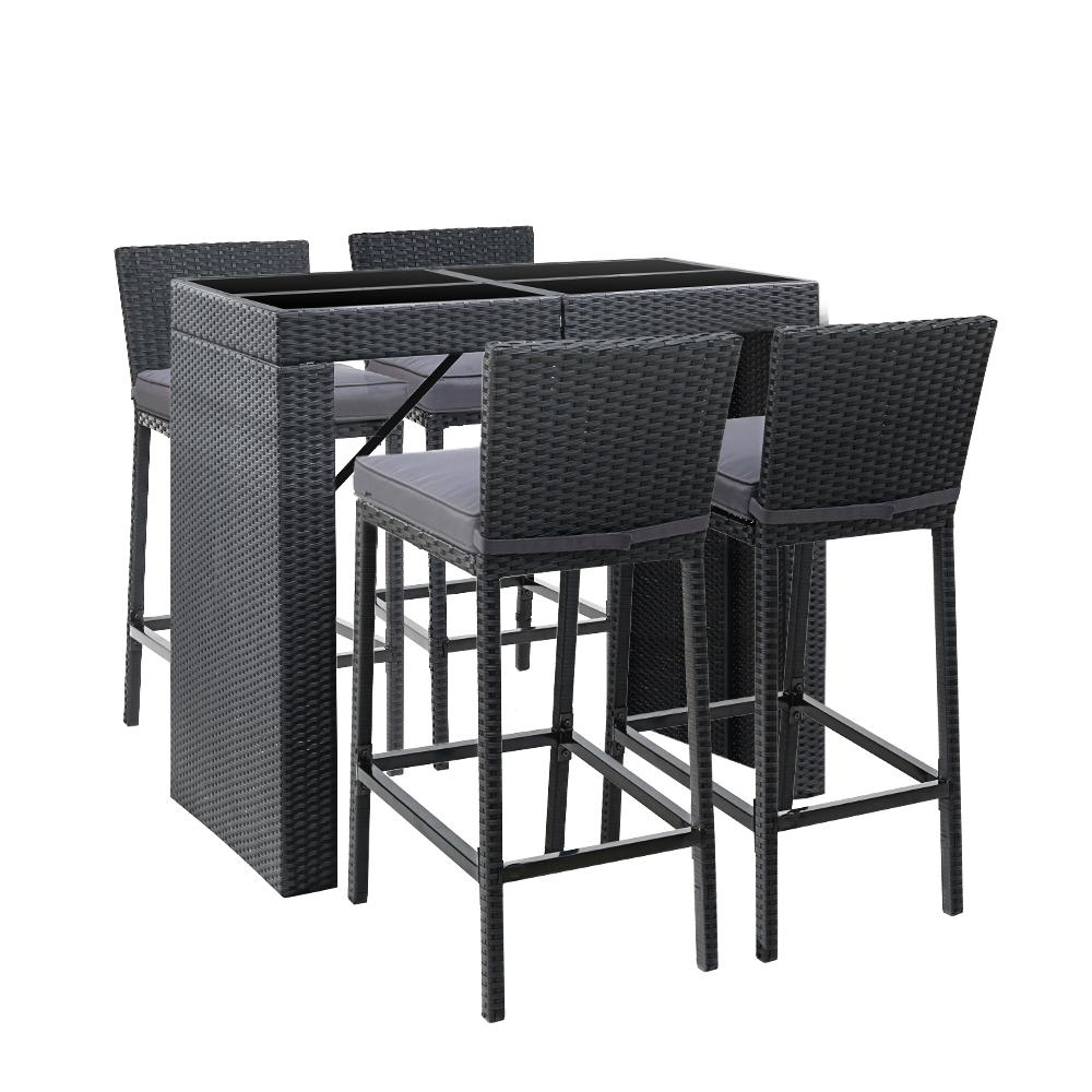 Gardeon Outdoor Bar Set Table Chairs Stools Rattan Patio Furniture 4 Seaters - Evopia