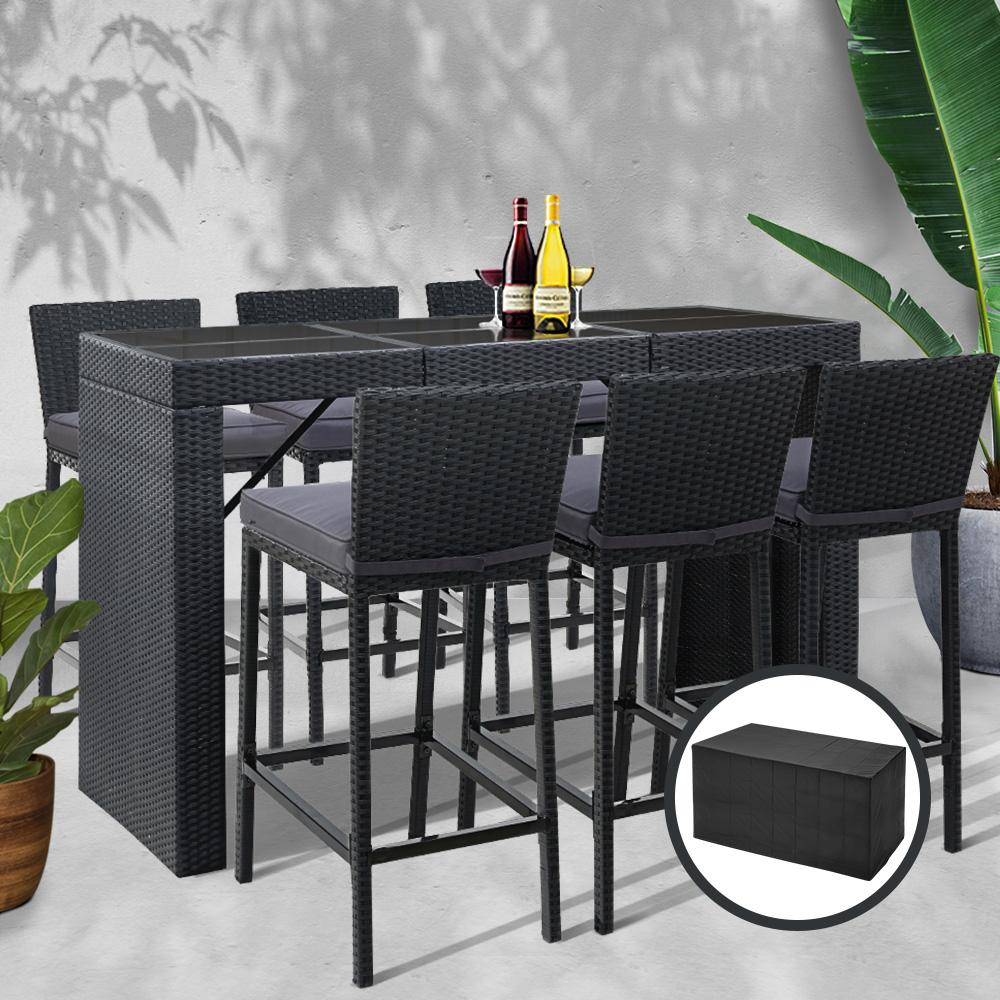Gardeon Outdoor Bar Set Table Chairs Stools Rattan Patio Furniture 6 Seaters - Evopia