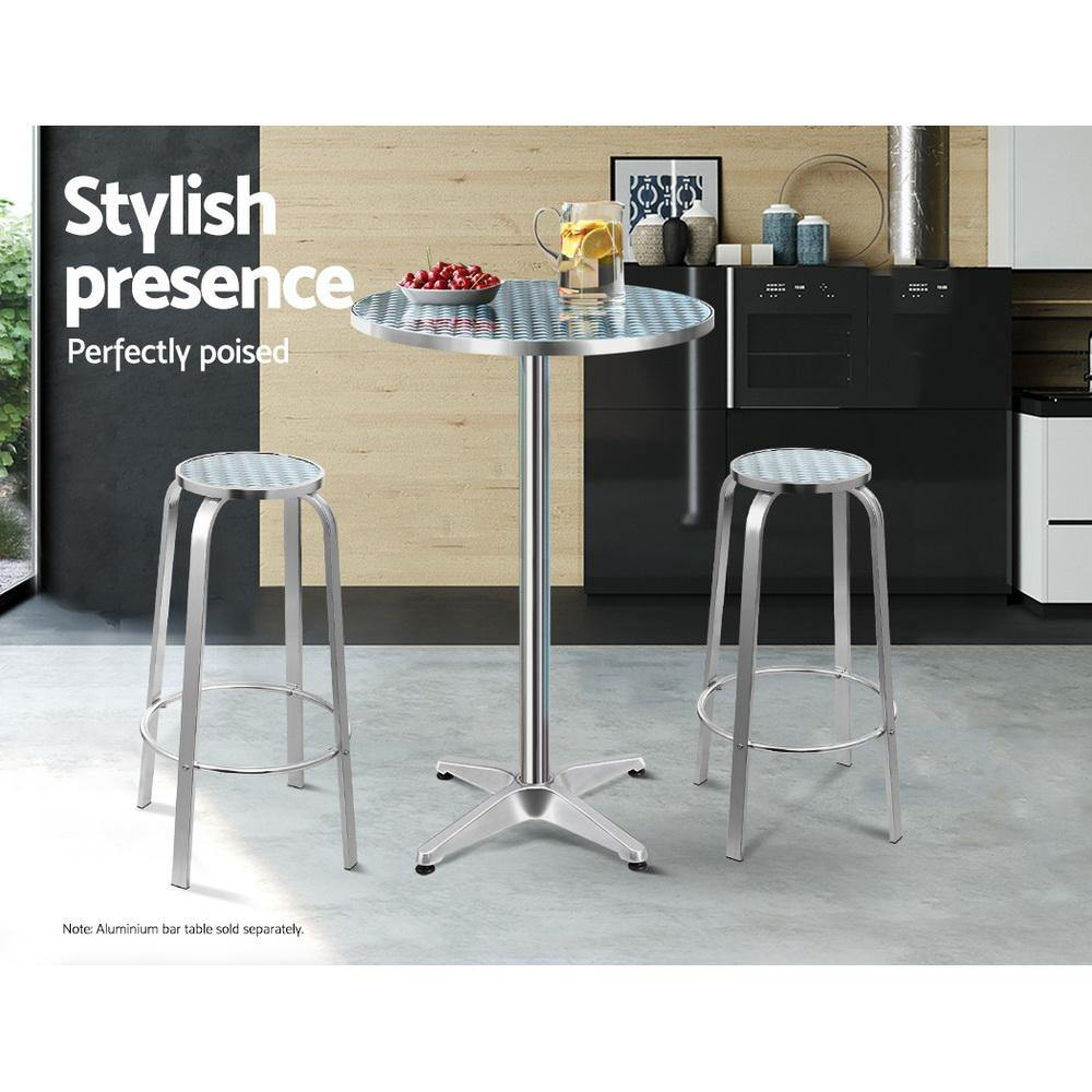 Gardeon Outdoor Bar Stools Patio Furniture Indoor Bistro Kitchen Aluminum x2 - Evopia