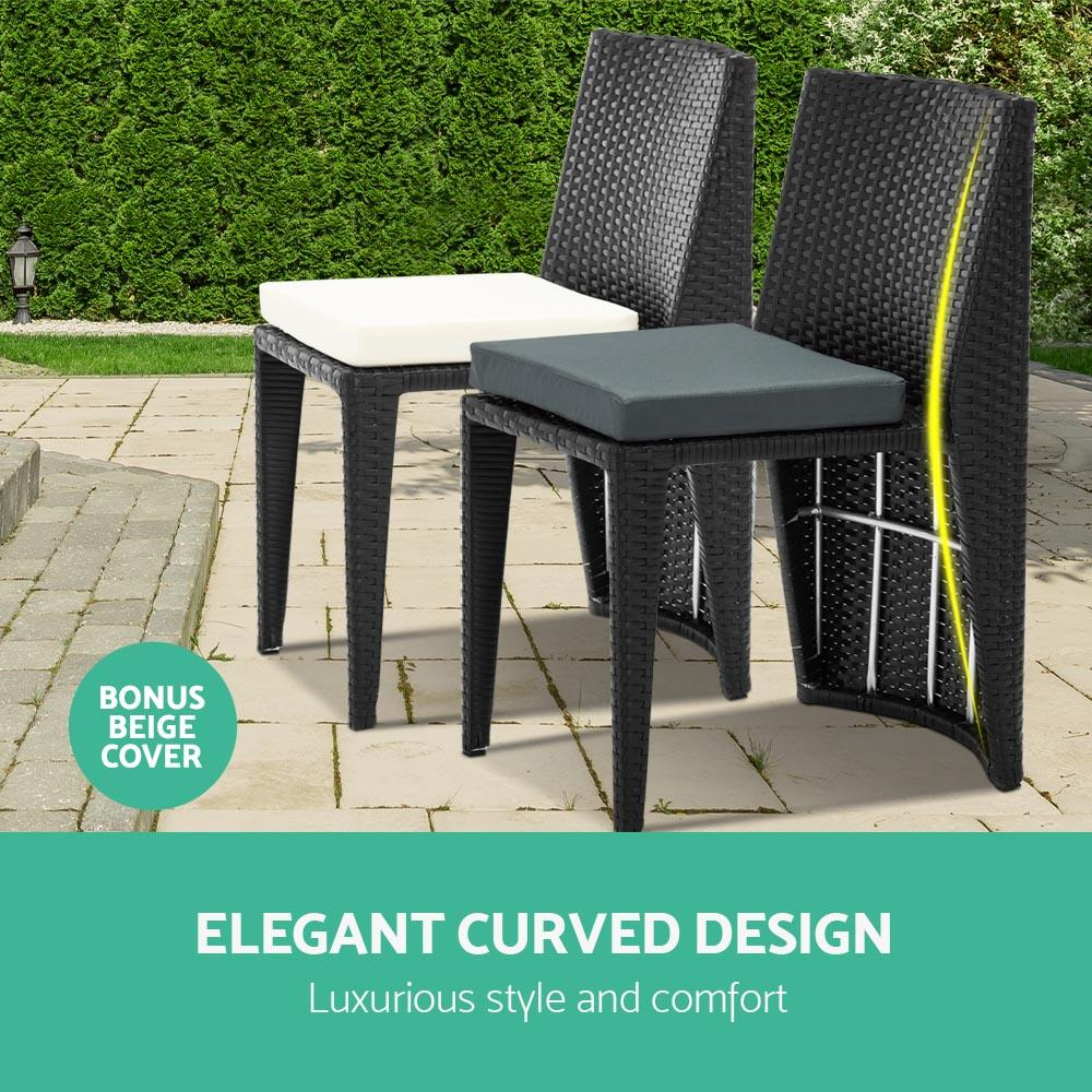 Gardeon 3 Piece PE Wicker Outdoor Table and Chair Set - Black - Evopia
