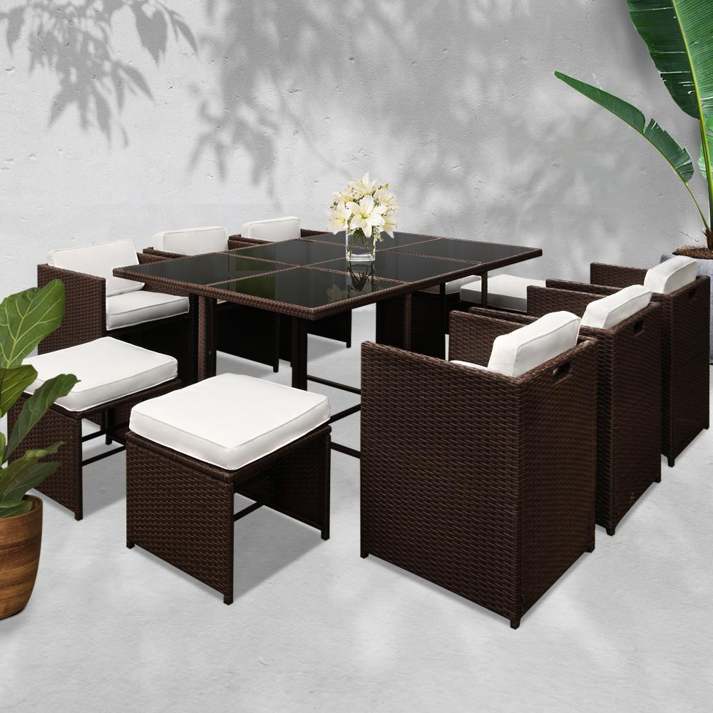 Gardeon 11 Piece PE Wicker Outdoor Dining Set - Brown & White - Evopia