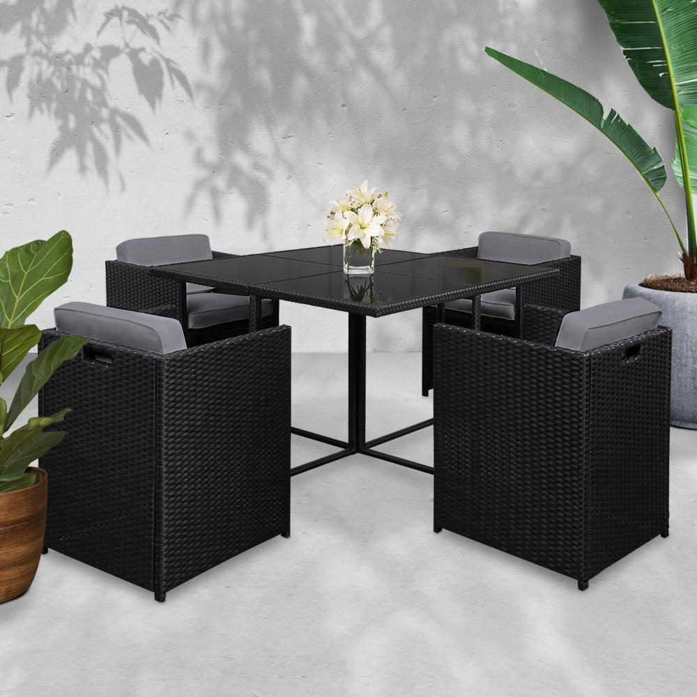 Gardeon 5 Piece Wicker Outdoor Dining Set - Black - Evopia