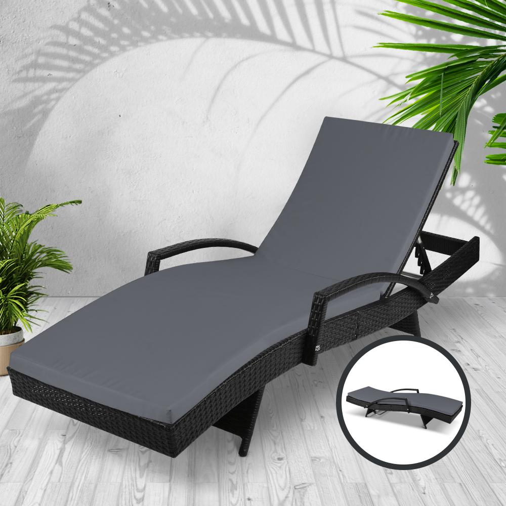 Gardeon Outdoor Sun Lounge - Black - Evopia