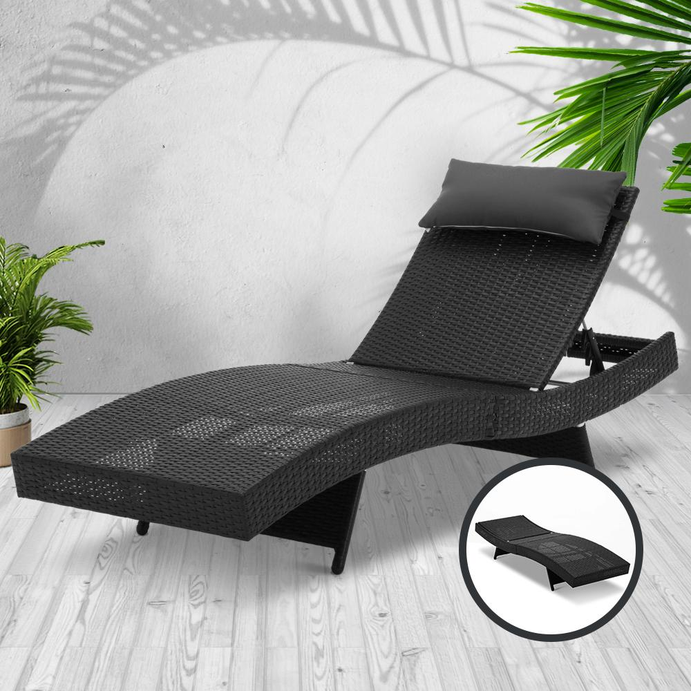 Gardeon Outdoor Wicker Sun Lounge - Black - Evopia