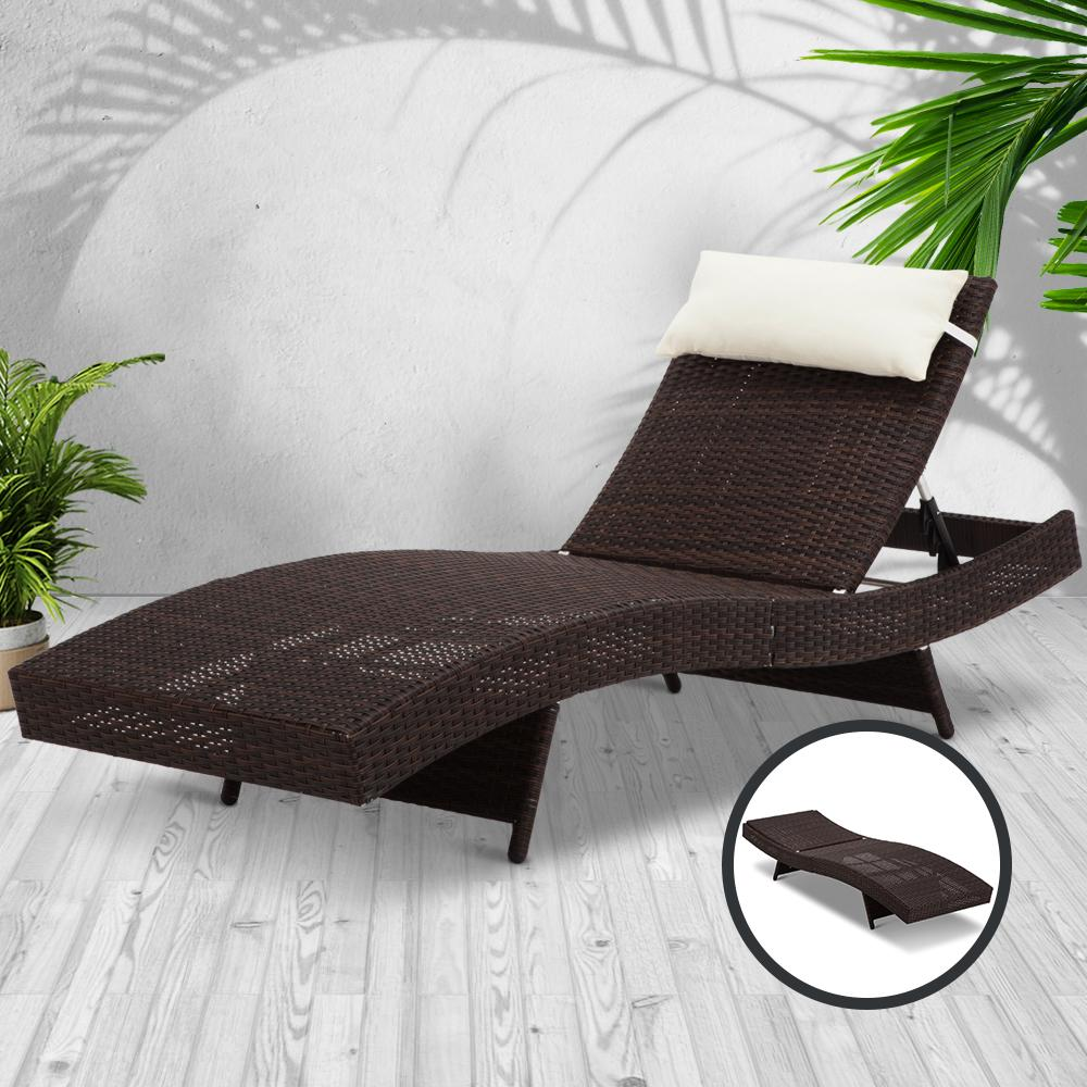Gardeon Outdoor Wicker Sun Lounge - Brown - Evopia