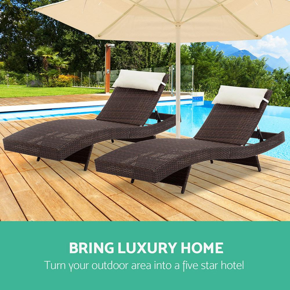 Gardeon Set of 2 Outdoor Wicker Sun Lounges - Brown - Evopia