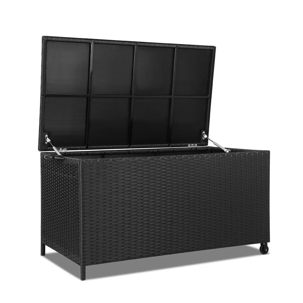Gardeon 320L Outdoor Wicker Storage Box - Black - Evopia