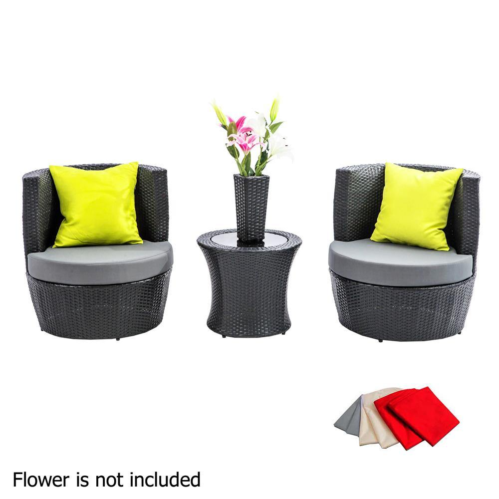 4 Piece PE Wicker outdoor table and chairs set black - Evopia