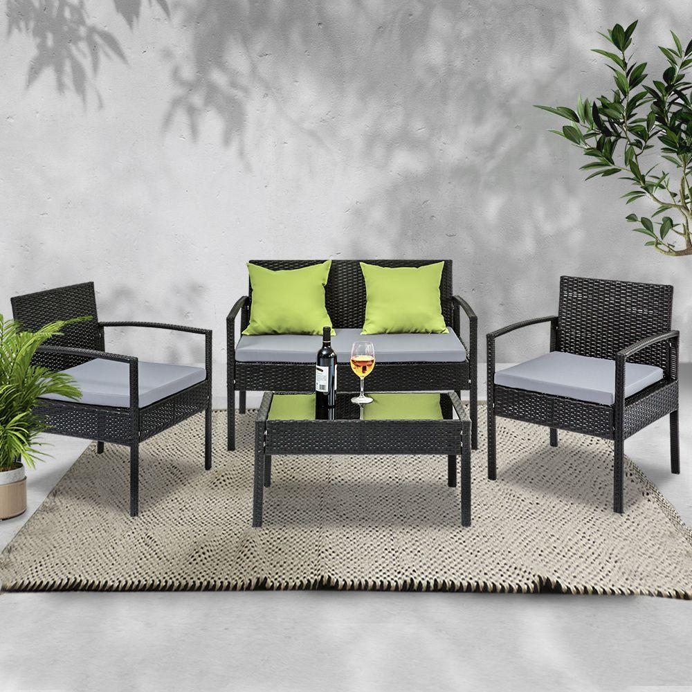 4 Seater Sofa Set Outdoor Furniture Lounge Setting Wicker Chairs Table Rattan Lounger Bistro Patio Garden Cushions Black - Evopia