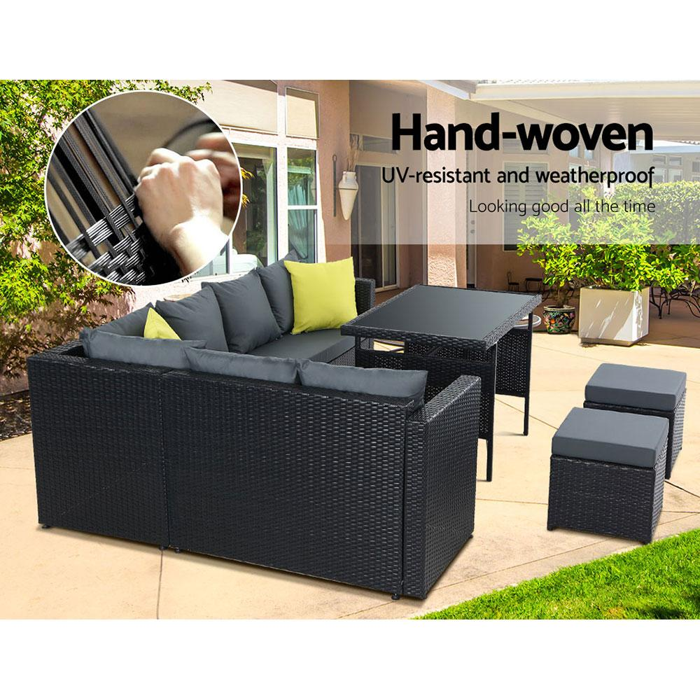 Gardeon Outdoor Furniture Patio Set Dining Sofa Table Chair Lounge Wicker Garden Black - Evopia