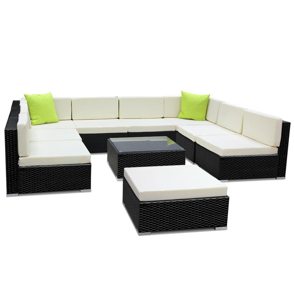 Gardeon 10PC Sofa Set with Storage Cover Outdoor Furniture Wicker - Evopia