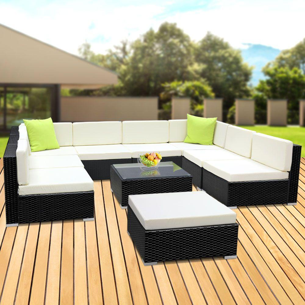 Gardeon 10PC Outdoor Furniture Sofa Set Wicker Garden Patio Lounge - Evopia