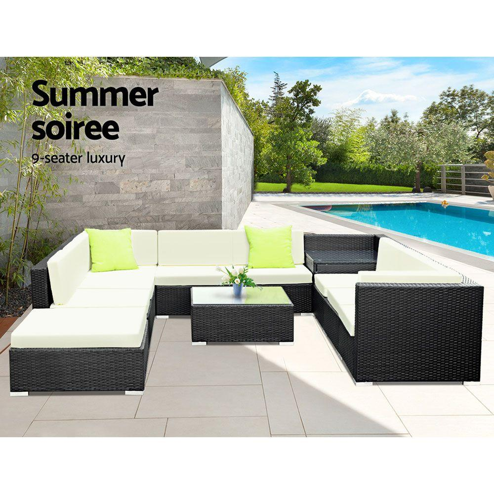 Gardeon 11PC Outdoor Furniture Sofa Set Wicker Garden Patio Lounge - Evopia