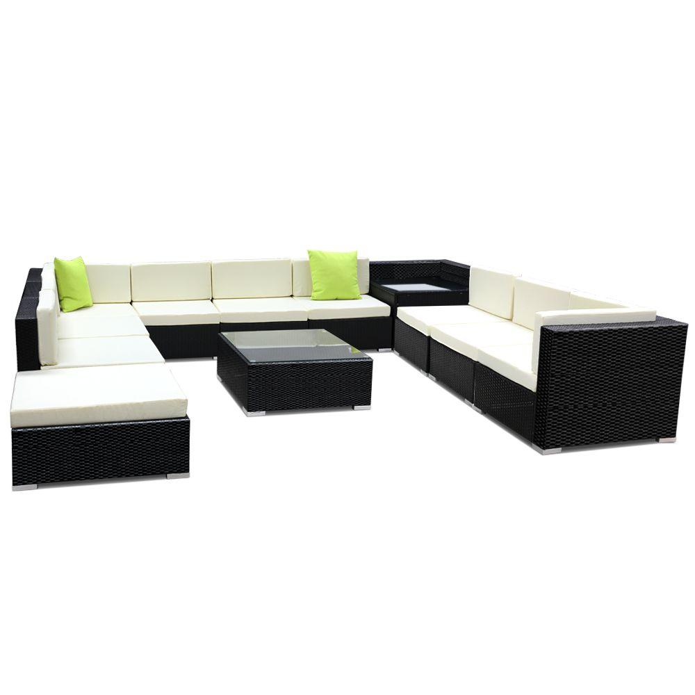 Gardeon 12PC Sofa Set with Storage Cover Outdoor Furniture Wicker - Evopia