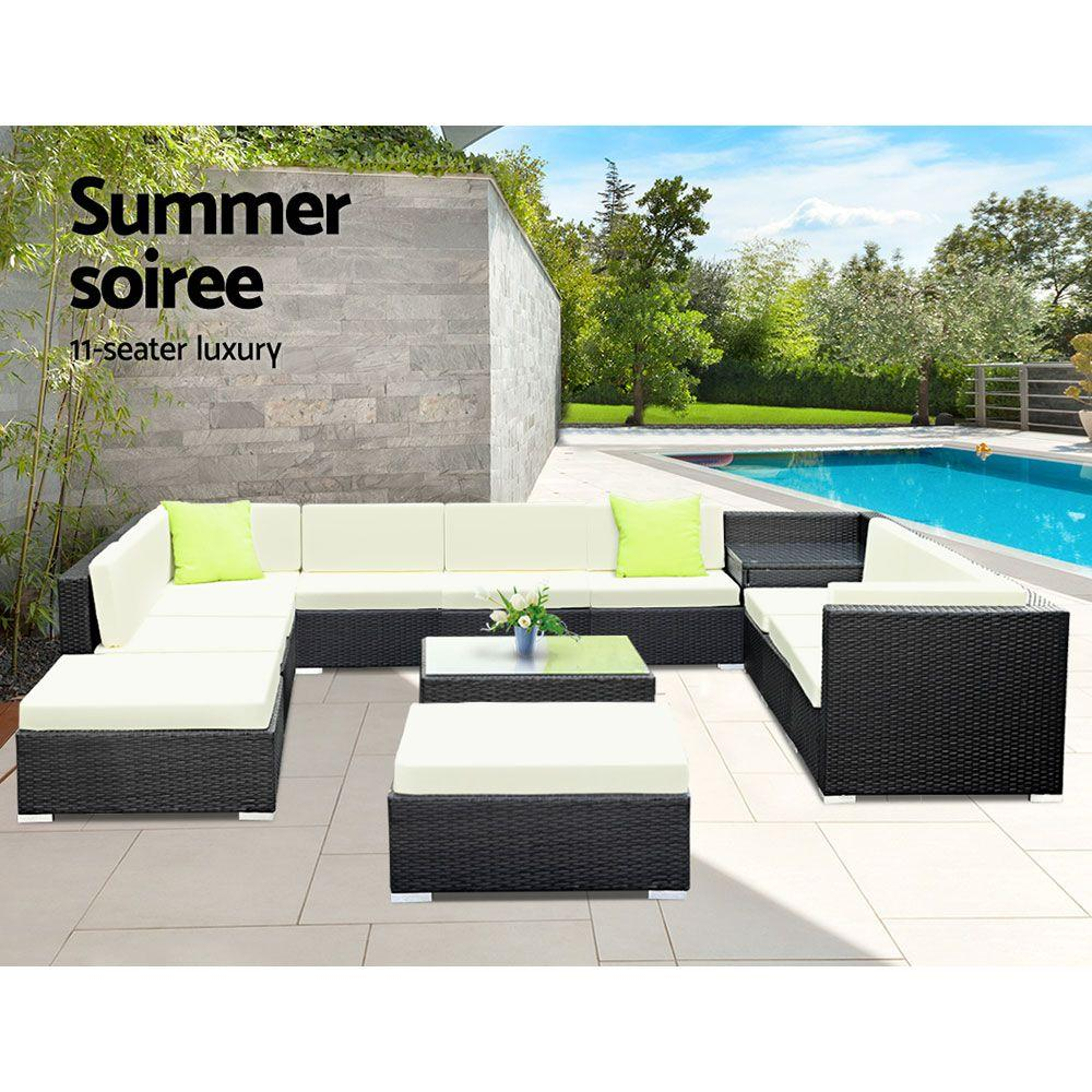 Gardeon 13PC Outdoor Furniture Sofa Set Wicker Garden Patio Lounge - Evopia