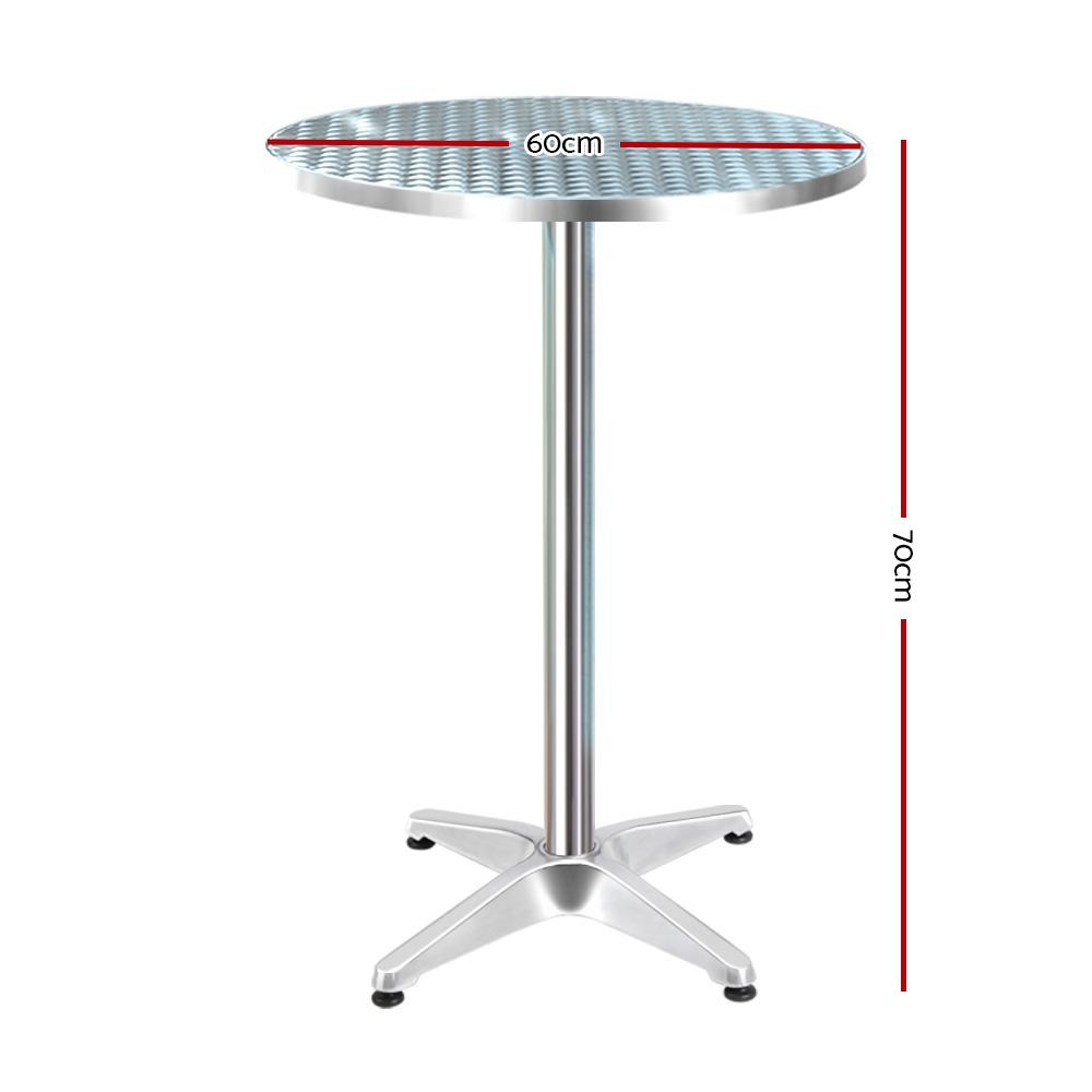 Gardeon Outdoor Bar Table Aluminium Dining Table Round 70CM - Evopia