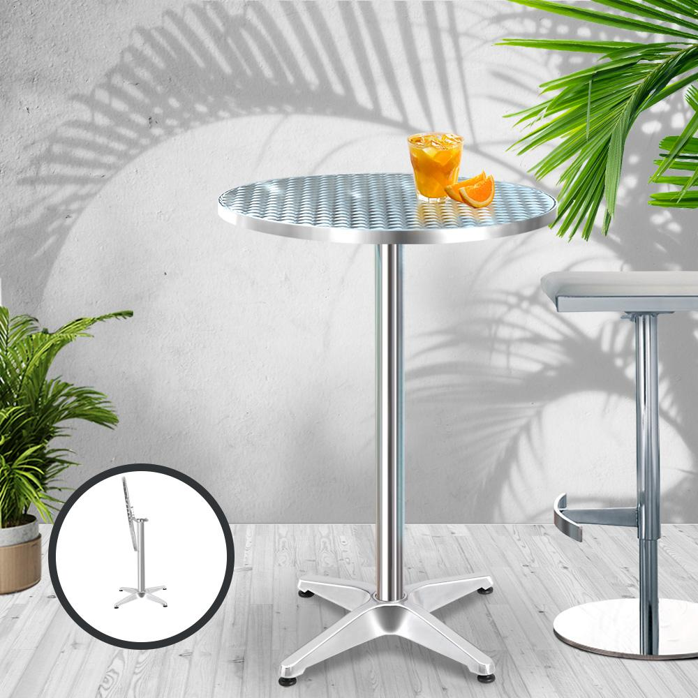 Gardeon Outdoor Bar Table Indoor Furniture Adjustable Aluminium Round 70/110cm - Evopia