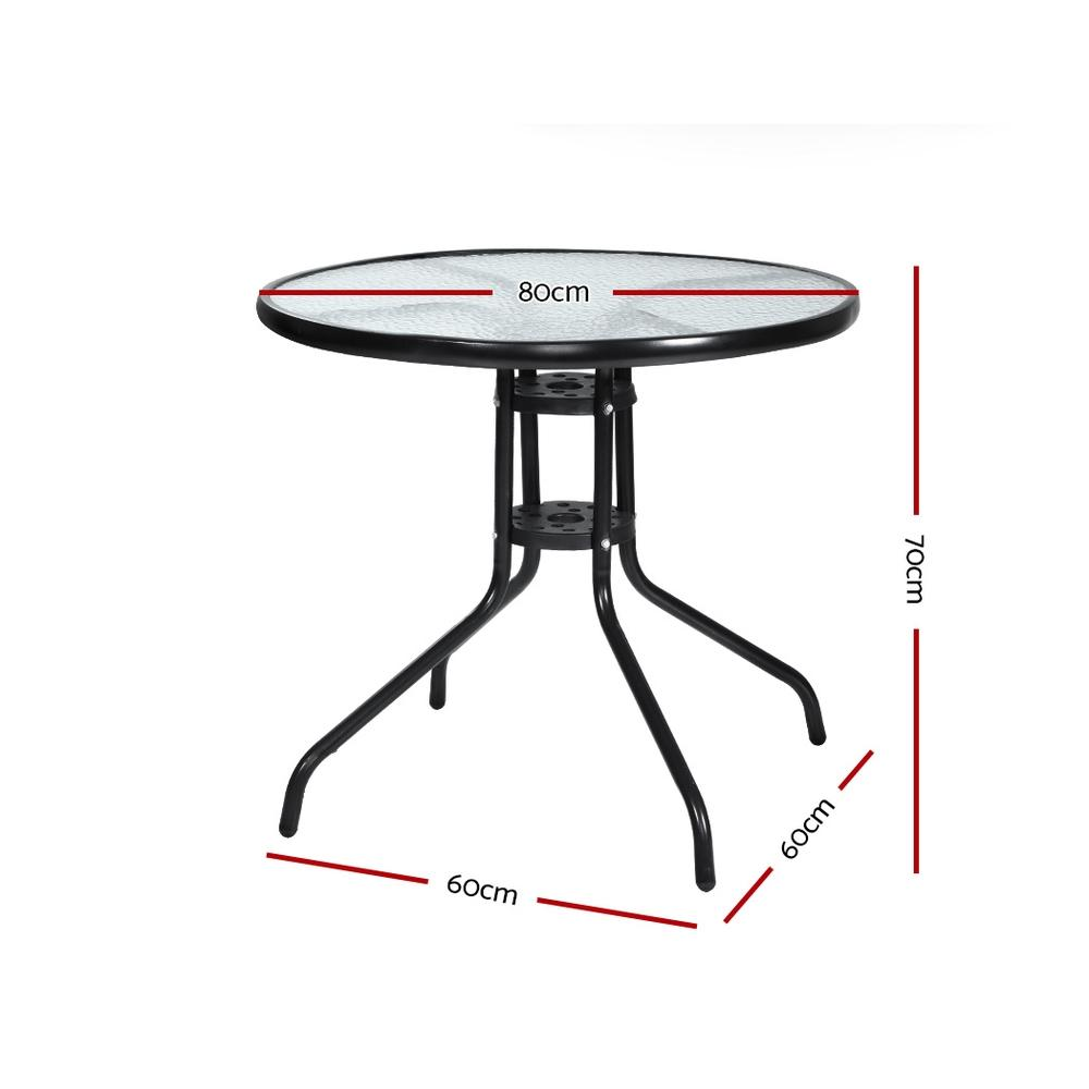 Gardeon Outdoor Dining Table Bar Setting Steel Glass 70CM - Evopia