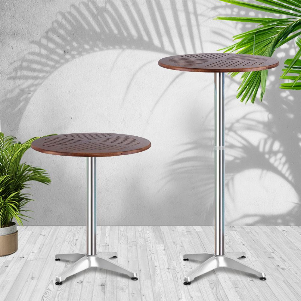Outdoor Bar Table Furniture Wooden Cafe Table Aluminium Adjustable Round Gardeon - Evopia