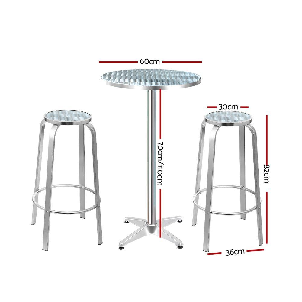Gardeon Outdoor Bistro Set Bar Table Stools Adjustable Aluminium Cafe 3PC Round - Evopia