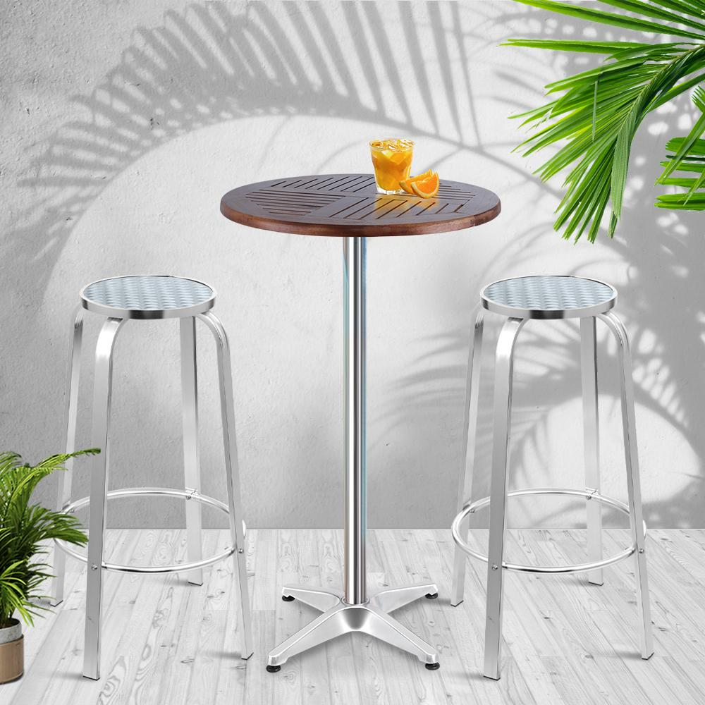 Gardeon Outdoor Bistro Set Bar Table Stools Adjustable Aluminium Cafe 3PC Wood - Evopia