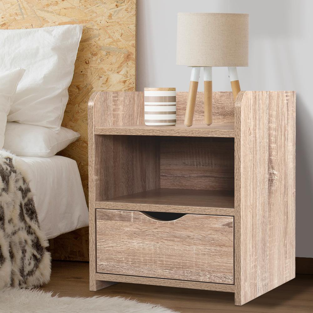 Artiss Bedside Tables Storage Drawer Side Table Bedroom Furniture Nightstand Shelf Unit Oak