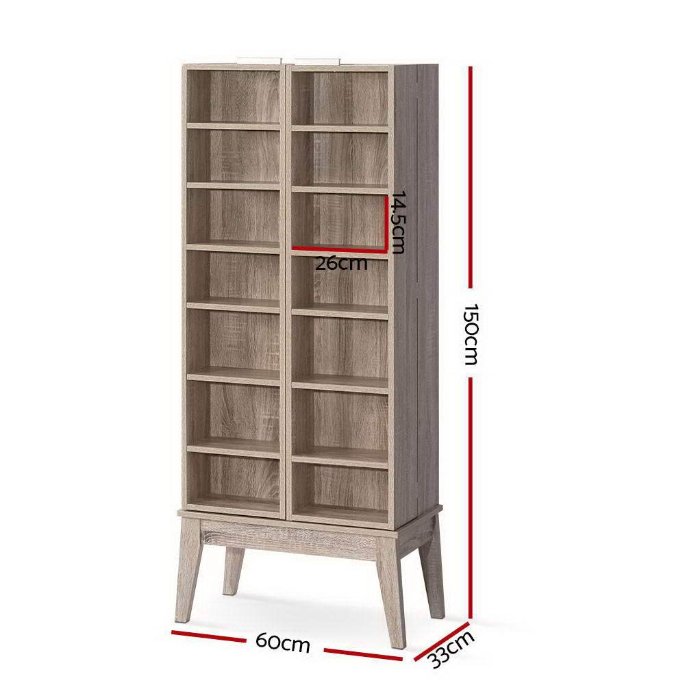 Artiss CD DVD Media Storage Display Shelf Folding Cabinet Bookshelf Bluray Rack Oak - Evopia