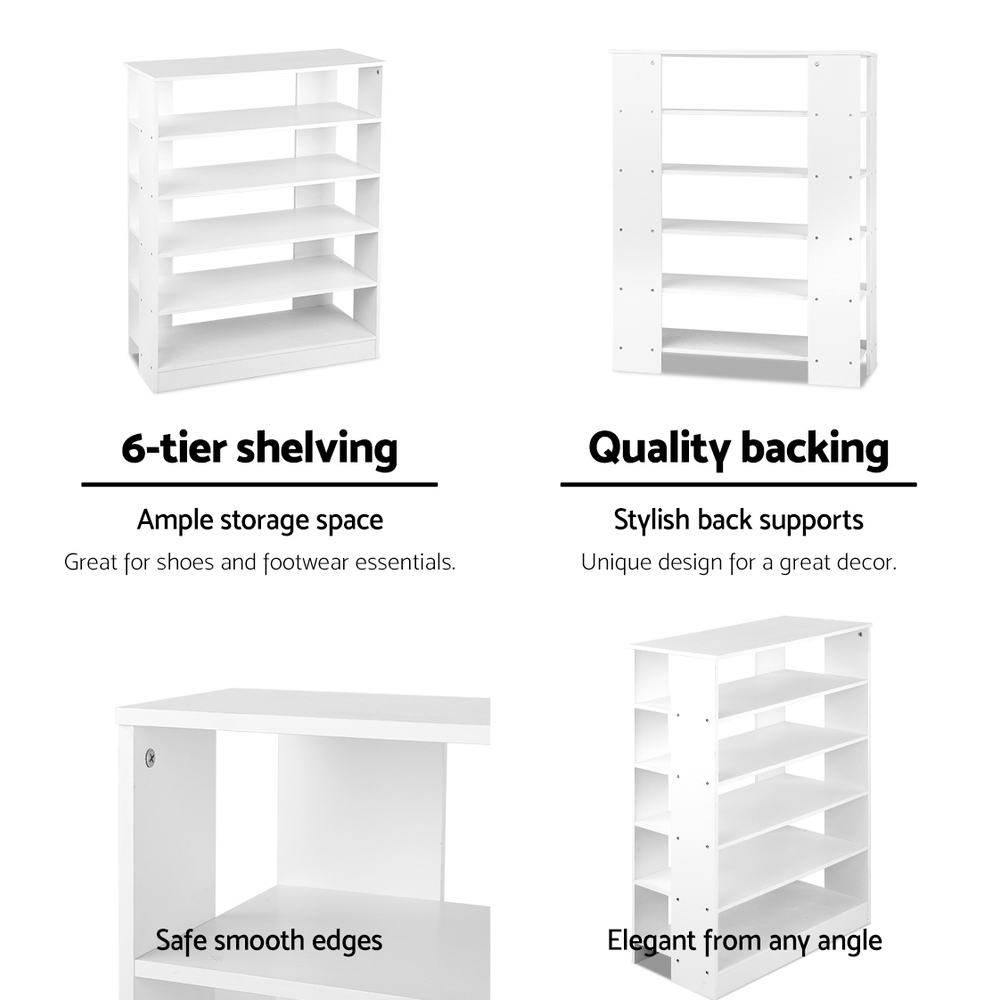 Artiss 6-Tier Shoe Rack Cabinet - White - Evopia