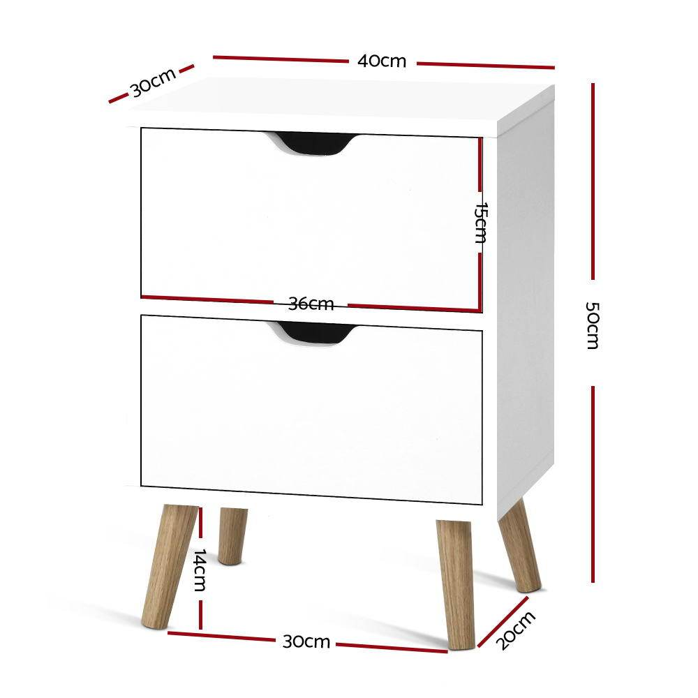Artiss Bedside Tables Drawers Side Table Nightstand White Storage Cabinet Wood - Evopia