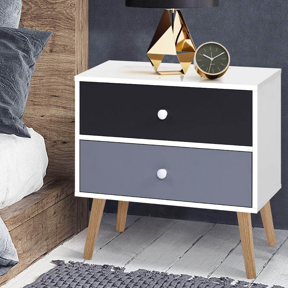 Artiss Bedside Tables Drawers Side Table Nightstand Lamp Side Storage Cabinet - Evopia