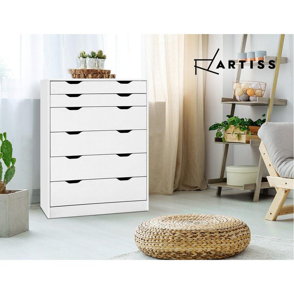 Artiss 6 Chest of Drawers Tallboy Cabinet Storage Dresser Table Bedroom Storage - Evopia