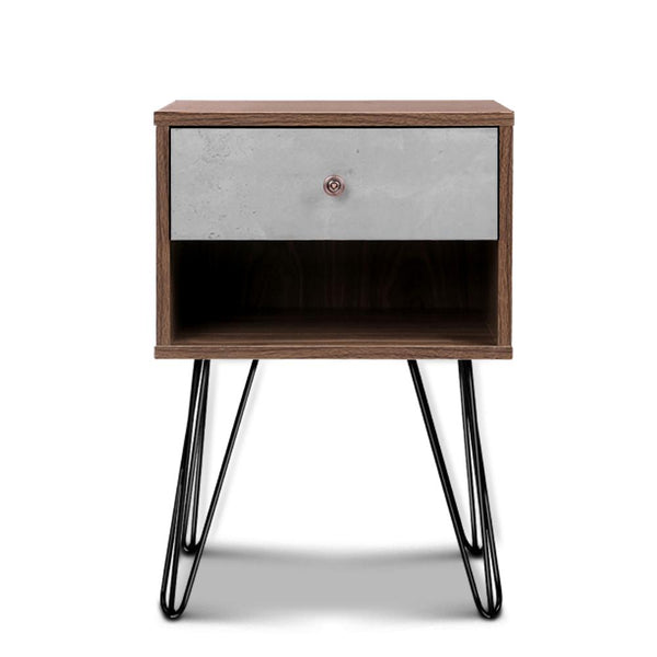 Artiss Bedside Table with Drawer - Grey & Walnut - Evopia