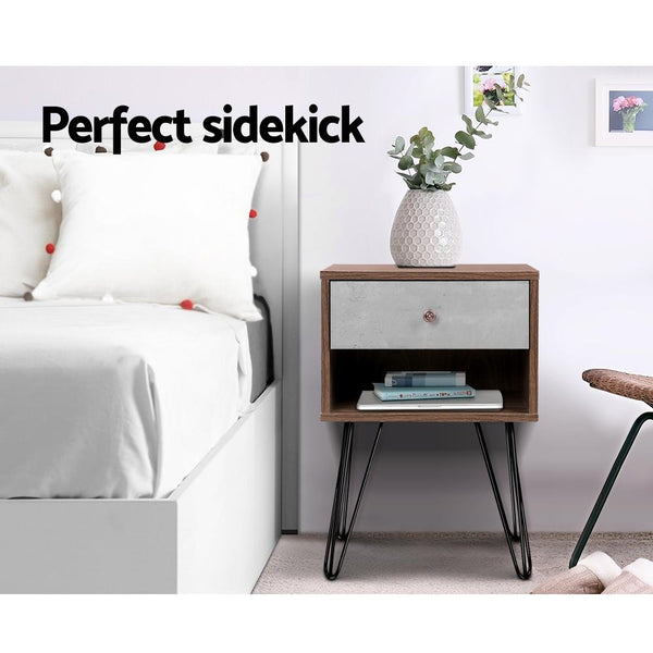 Look in the bedroom of Artiss Bedside Table with Drawer Grey & Walnut $ 79.00 | Evopia.com.au