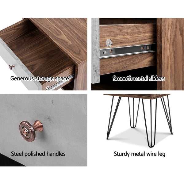 Door fittings of Artiss Bedside Table with Drawer Grey & Walnut $ 79.00 | Evopia.com.au
