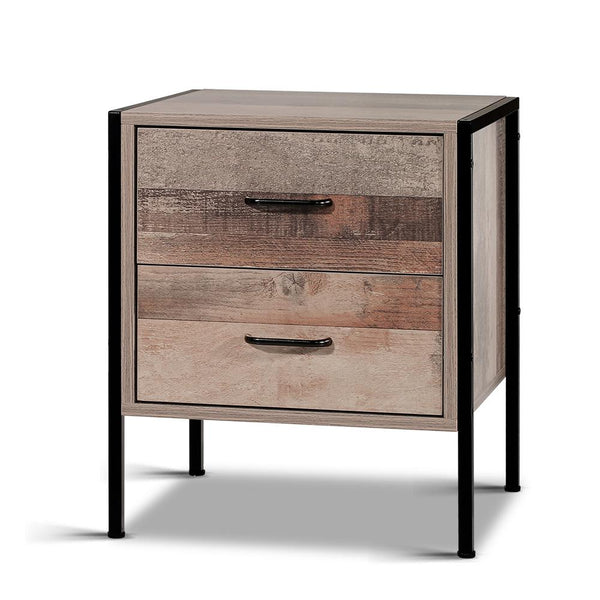 Angle view of Artiss Bedside Table Drawers Nightstand Metal Oak  $119 | Evopia.com.au
