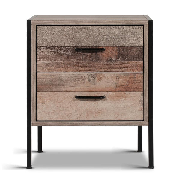 Frount view of Artiss Bedside Table Drawers Nightstand Metal Oak  $119 | Evopia.com.au