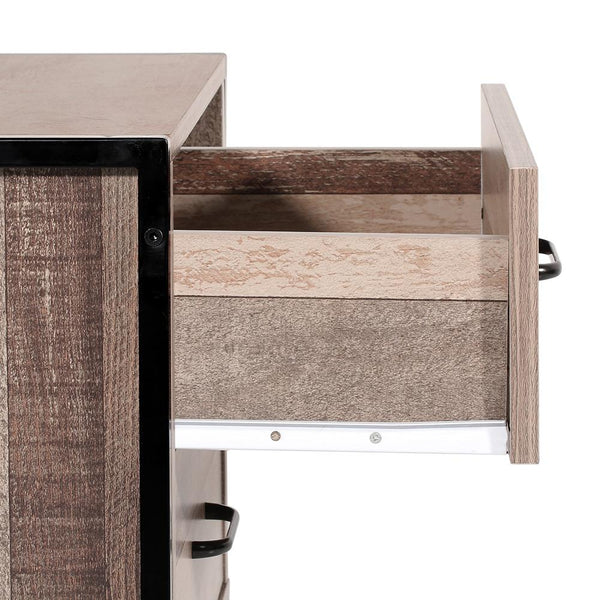 Artiss Bedside Table Drawers Nightstand Metal Oak - Evopia