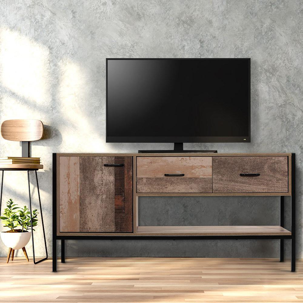 Artiss TV Stand Entertainment Unit Storage Cabinet Industrial Rustic Wooden 120cm - Evopia