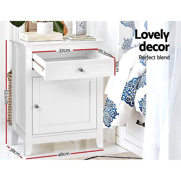 Artiss Bedside Tables Big Storage Drawers Cabinet Nightstand Lamp Chest White - Evopia