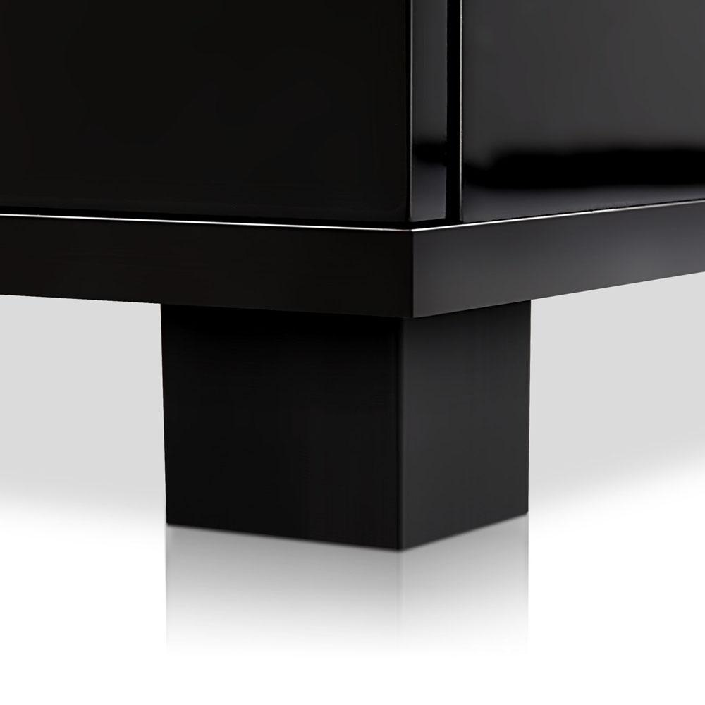 Artiss High Gloss Two Drawers Bedside Table - Black - Evopia