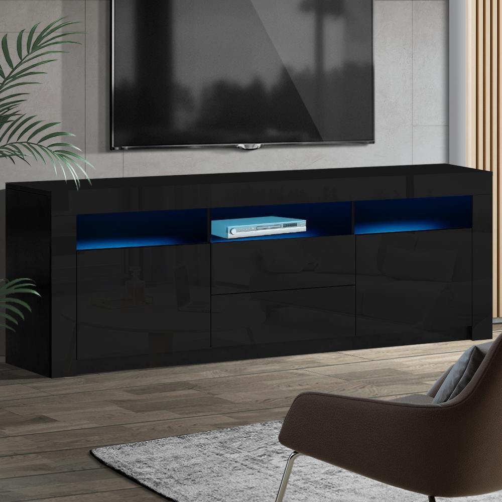 Artiss TV Cabinet Entertainment Unit Stand RGB LED High Gloss Furniture Storage Drawers Shelf 180cm Black