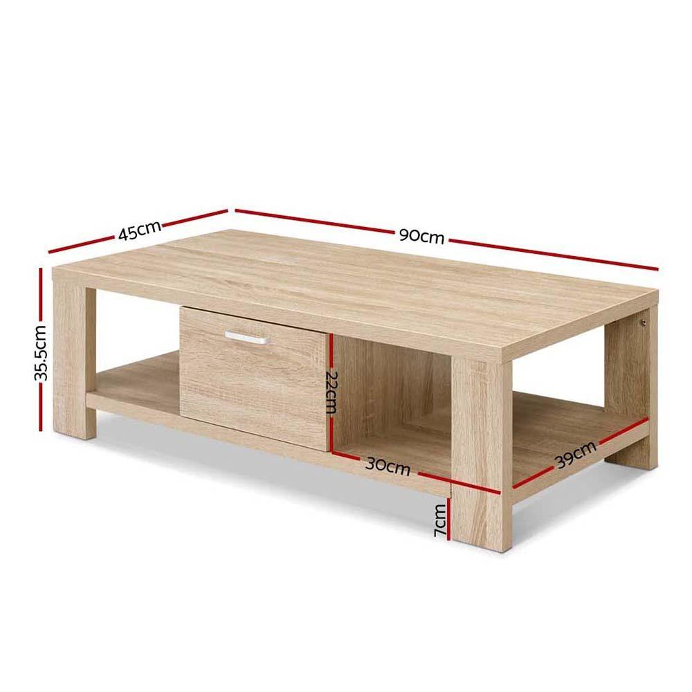 Artiss Coffee Table Wooden Shelf Storage Drawer Living Furniture Thick Tabletop - Evopia