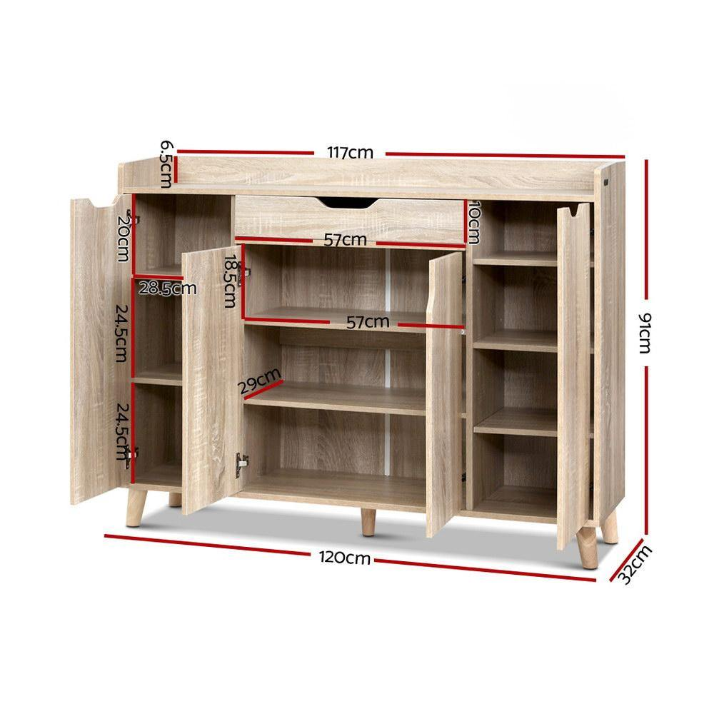 Artiss Shoe Cabinet Shoes Storage Rack 120cm Organiser Drawer Cupboard Wood